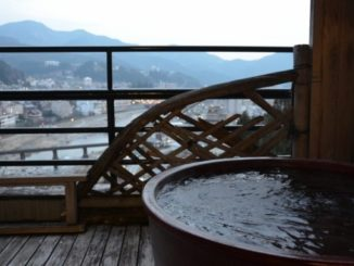 Had a bath of Gero Onsen on the balcony