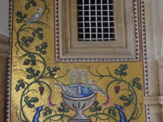 Kykkos Monastery – mosaic and window, Mar.2015
