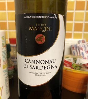 Italy-Sardinia-Akghero-a wine bottle-Cannonau