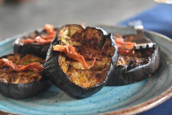 Italy-Sardinia-Alghero-agriturismo-Barbagia-spicy aubergine-starter