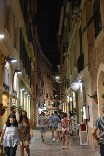 Italy-Sardinia-Alghero-old town-at night-street-people