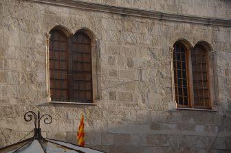 Italy-Sardinia-Alghero-Piazza Civica-palasso d'Alba de Ferrara-windows