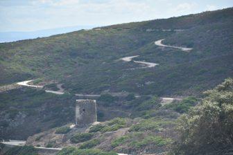 Italy-Sardinia-Asinara-view-winding road-tower