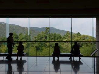 Japan, Atami – silhouette of people, Aug.2014