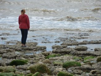 England, Beachy Head – woman in red, July, 2014