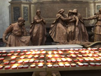 Italy-Bologna-cathedral-statue-'Lamentation of Christ'-candles