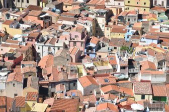 Italy-Sardinia-Bosa-view-old town-from the rampart
