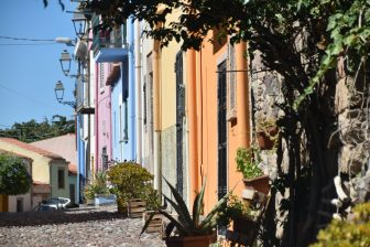 Italy-Sardinia-Bosa-houses-colours-lamps-street