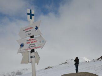 Climb up the snowy mountain