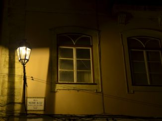 Portugal, Coimbra – lamp and window at night, Nov.2014