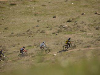 Spain, Consuegra – cyclists, Mar.2014