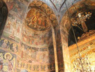 Romania, Cozia Monastery – cross, Apr. 2014