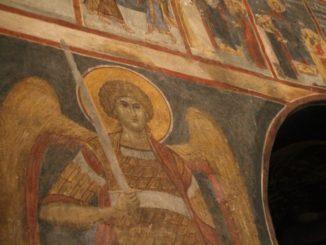 Romania, Cozia Monastery – angel, Apr. 2014