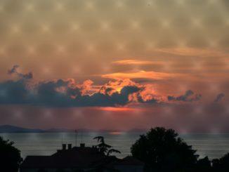 Croatia, Zadar – sunset behind the net, July 2014
