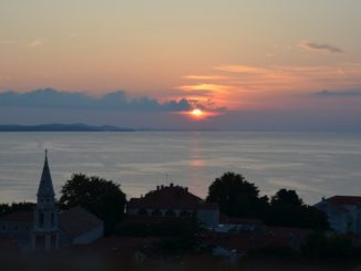Croatia, Zadar – town and setting sun, July 2014