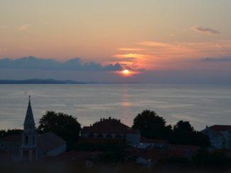 Croatia, Zadar – town and setting sun, July 2014