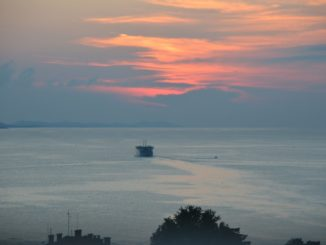 Croatia, Zadar – sunset and boat, July 2014