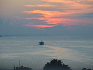 Croatia, Zadar – sunset and boat, July 2014