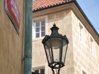 Czech, Prague – lamp on corner, Sept.2013
