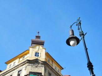 Czech, Prague – lamp and building, Sept.2013