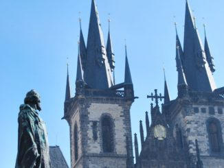 Czech, Prague – statue and church, Sept.2013