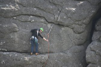 England-Devon-Dartmoor-Haytor-rock climbing-person