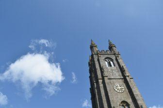 England-Devon-Dartmoor-Widecombe in the Moor-St Pancras-tower-sky