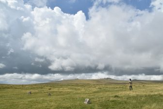 England-Devon-Dartmoor-Merrivale-sky-cloud-field-a person
