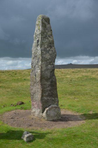 England-Devon-Dartmoor-Merrivale-stone pillar-dark sky