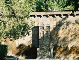 Armenia, Echmiadzin – cross stone, Autumn 2005