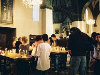 Armenia, Echmiadzin – candles, Autumn 2005