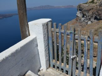Greece, Santorini, Fira – light of boat, Aug. 2013
