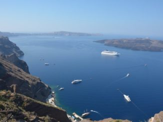 Greece, Santorini, Fira – boats, Aug. 2013