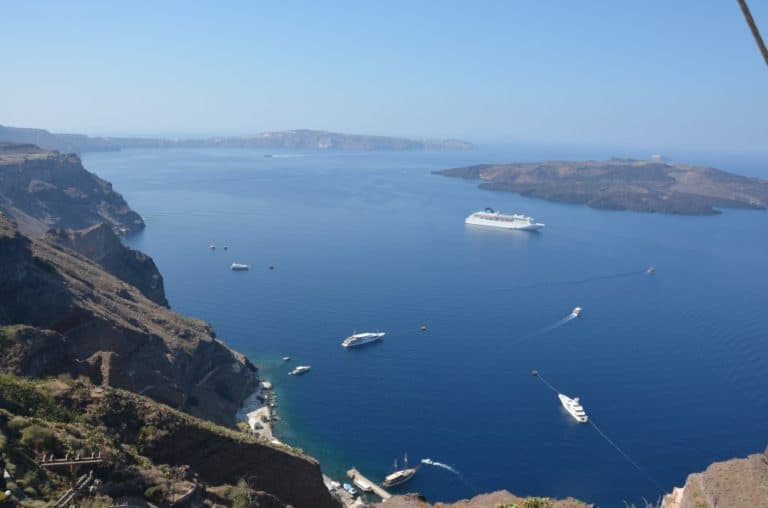 Greece, Santorini, Fira – boats, Aug. 2013 (Santorini)