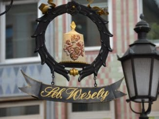Germany, Munich – lamp and sign, May 2013