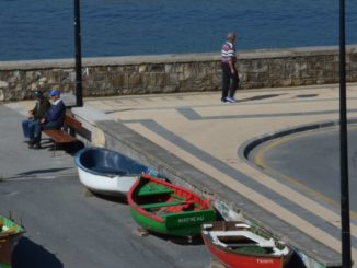 Spain, Getxo – boats and bench, May 2014