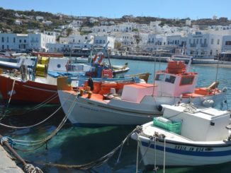 Greece, Mykonos – boats and town, Sept.2013