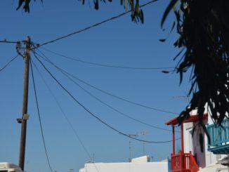 Greece, Mykonos – telegraph pole, Sept.2013