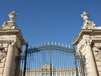 Spain, Madrid – palace gate, Mar. 2014