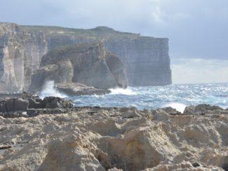 Malta, Gozo – view with rocks, Feb. 2013