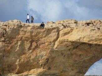 Malta, Gozo – people on the rock, Feb. 2013