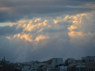 Malta, Gozo – clouds above town, Feb. 2013