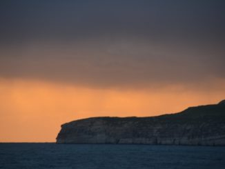 Malta, Gozo – sunset with dark colours, Feb. 2013