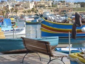 Malta, Marsaxlokk – view with a bench, Feb. 2013