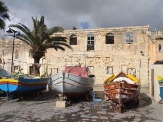 Malta, Marsaxlokk – parking boats, Feb. 2013