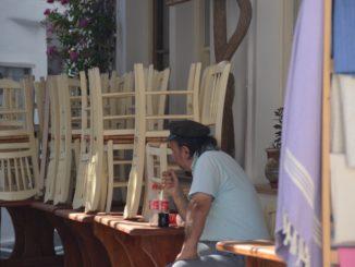 Greece, Mykonos – a man, Sept.2013
