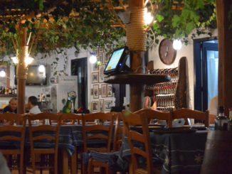 Greece, Mykonos – restaurant on sea, Aug.2013