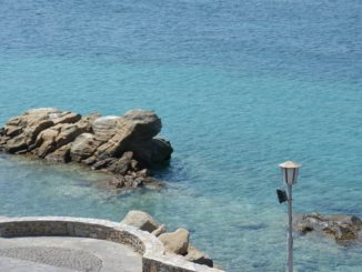 Greece, Mykonos – sea, rock and lamp, Aug.2013