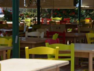 Greece, Naxos – yellow chairs, Aug.2013