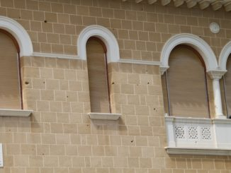 Archbishop's Palace – bullet holes, Mar.2015